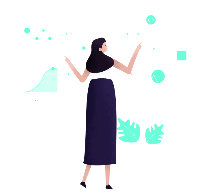 Woman and interactive technology